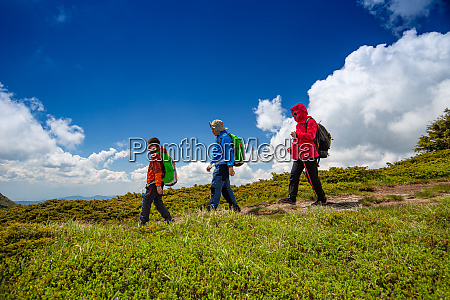 family enjoy hiking
