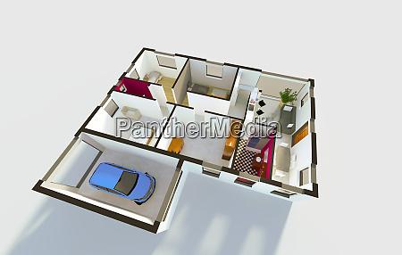 3d model of a detached house