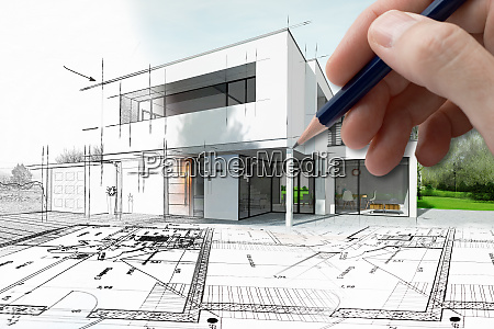 drawing of a modern house that