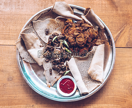 injera traditional and national dish of