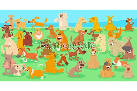 happy dogs cartoon characters huge group
