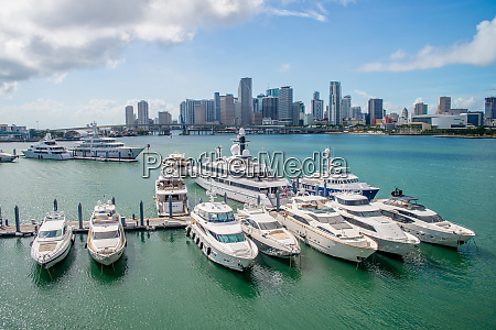 aerial view of bay in miami