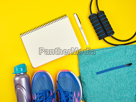 open empty notebook and sports womens