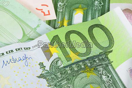 closeup of 100 euro banknote