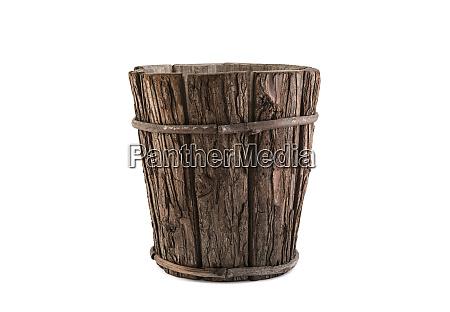 vintage wooden flowerpot isolated on white