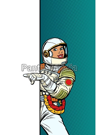 african girl woman astronaut point to