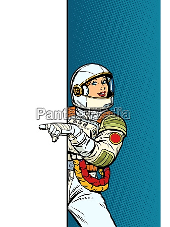 girl woman astronaut point to copy