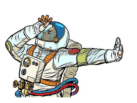 astronaut in a spacesuit gesture of