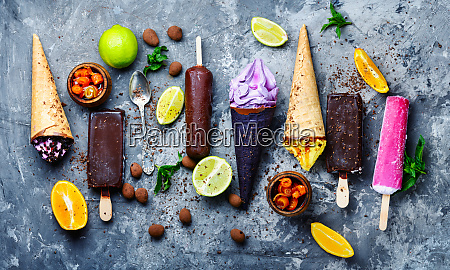 chocolate and fruit ice cream