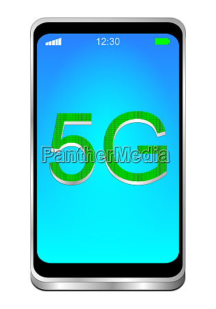 smartphone with green 5g on blue