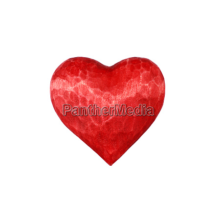 one red wooden carved heart isolated