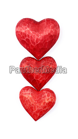 three, red, wooden, carved, hearts, isolated - 27015608
