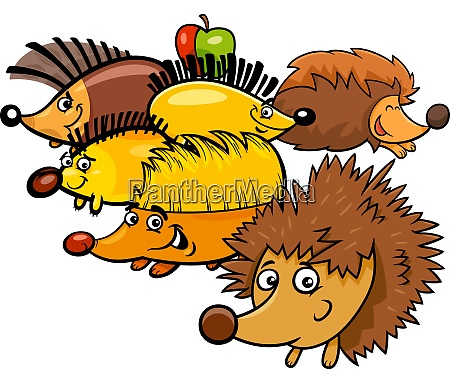 funny hedgehogs cartoon animal characters