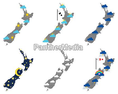 karten von neuseeland mit verschiedenen wettersymbolen
