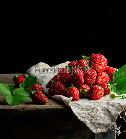 fresh ripe red strawberries on a