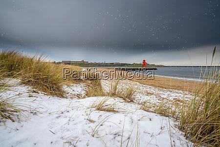 herd groyne lighthouse in a snowfall