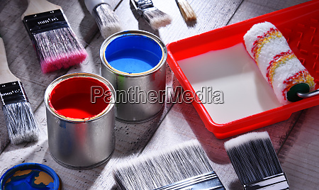 paintbrushes of different size and paint