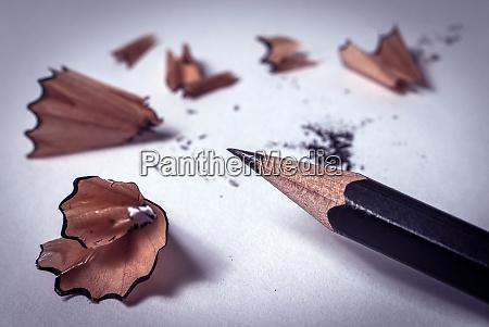 closeup of black sharp pencil with