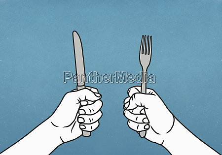 hungry hands holding fork and knife