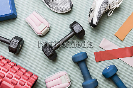 view from above dumbbells and exercise
