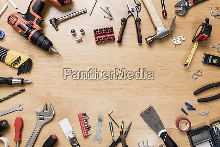 view from above tools arranged in