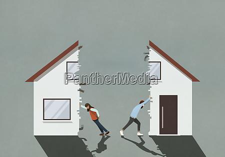 couple splitting house in divorce