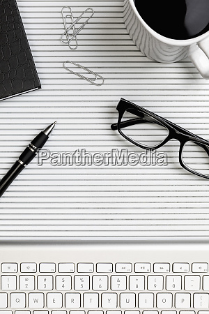 view form above eyeglasses pen and