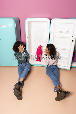 two excited young women at an