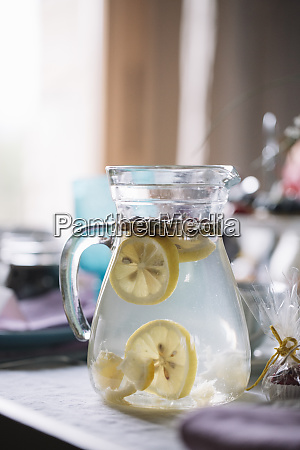 glass jug of water flavoured with
