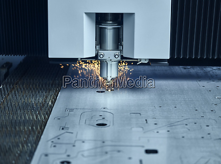 close up of laser cutter