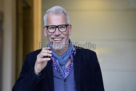 portrait of a mature man smoking