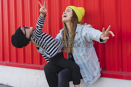 teenage girl and younger sister having