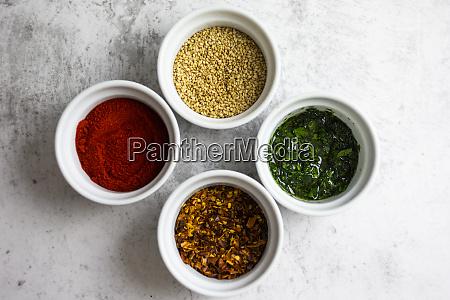 paprika powder chilli flakes sesame and