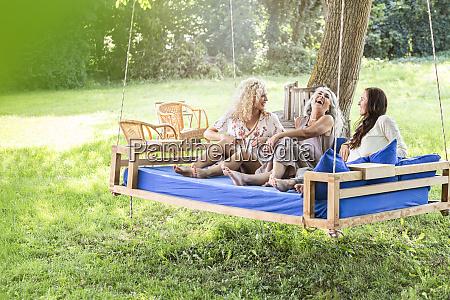 women of a family relaxing in