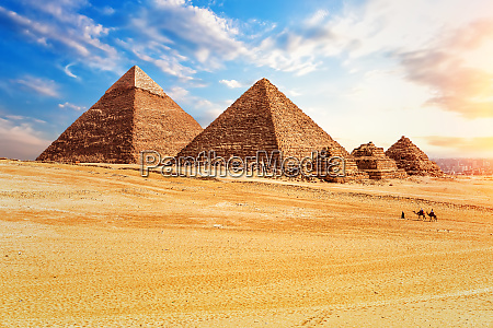 the pyramids in the sunny desert