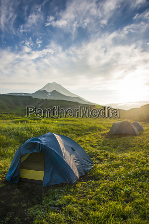 russia kamchatka camping below vilyuchik volcano