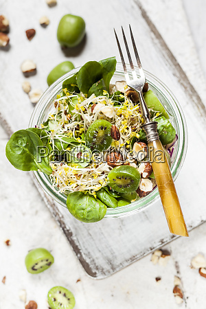 quinoa salad with lambs lettuce cabbage