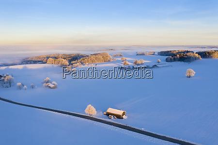 germany bavaria near muensing winter landscape
