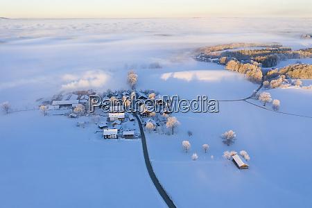 germany bavaria attenkam in winter aerial