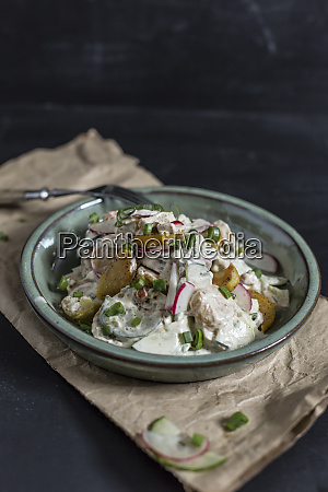 bowl of fried potato salad with