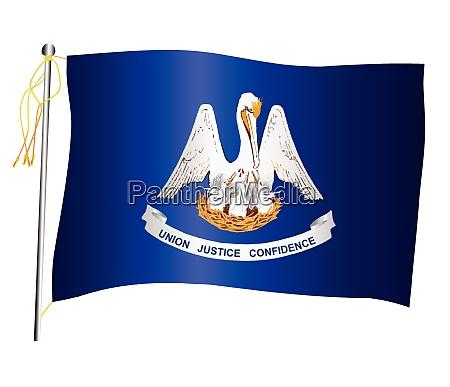 louisiana state waving flag and flagpole