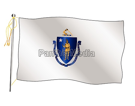 massachusetts state waving flag and flagpole