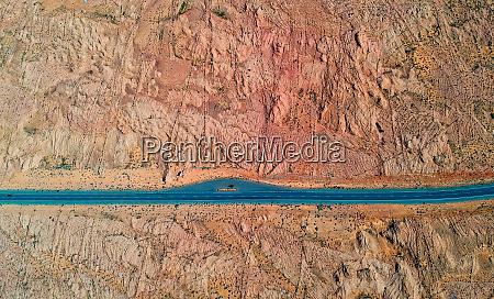 aerial birds eye view of desert