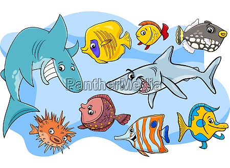 fish marine animal cartoon characters group