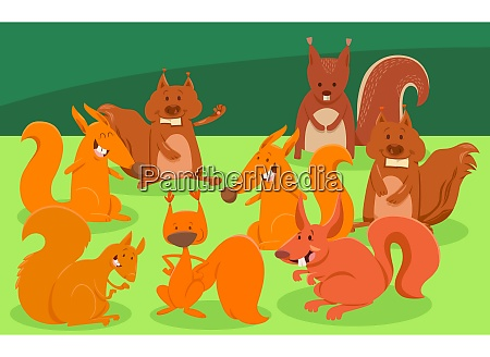cartoon squirrels animal characters group