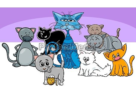 funny cats pets group cartoon illustration