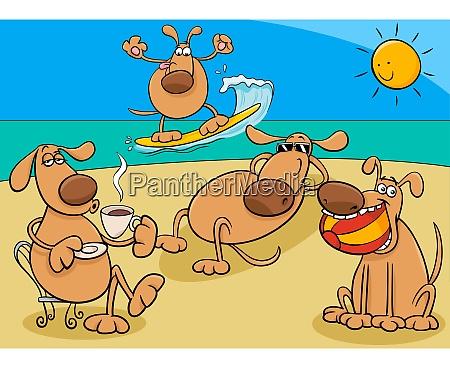 dogs group on holiday cartoon illustration