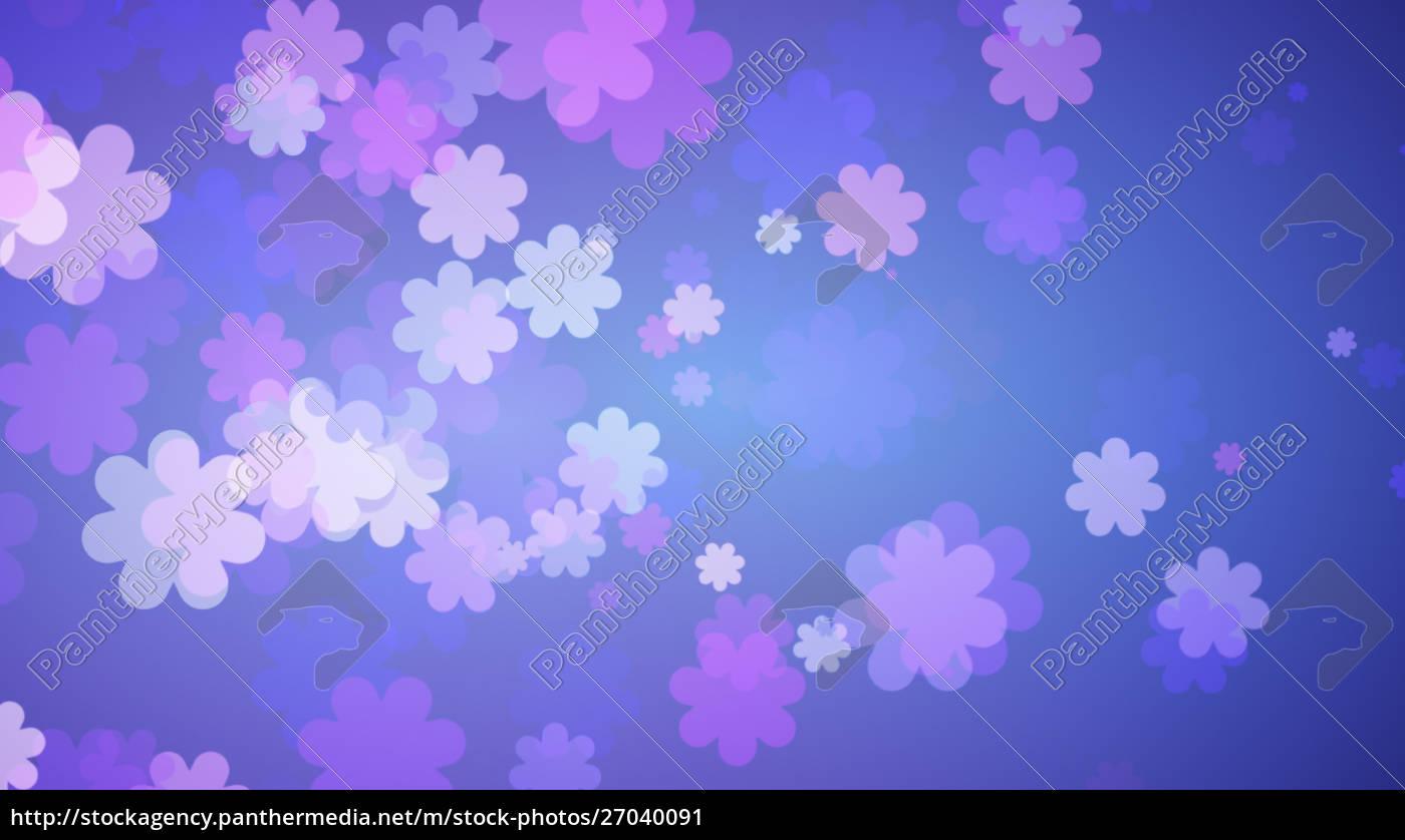 Soft Blue Floral Background Purple Flowers Spreading Stock