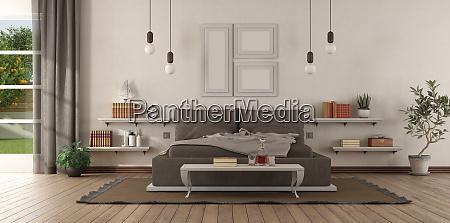 modern master bedroom with brown bedroom