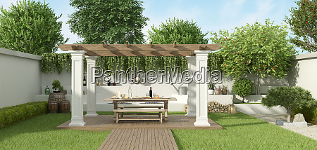 luxury garden with gazebo
